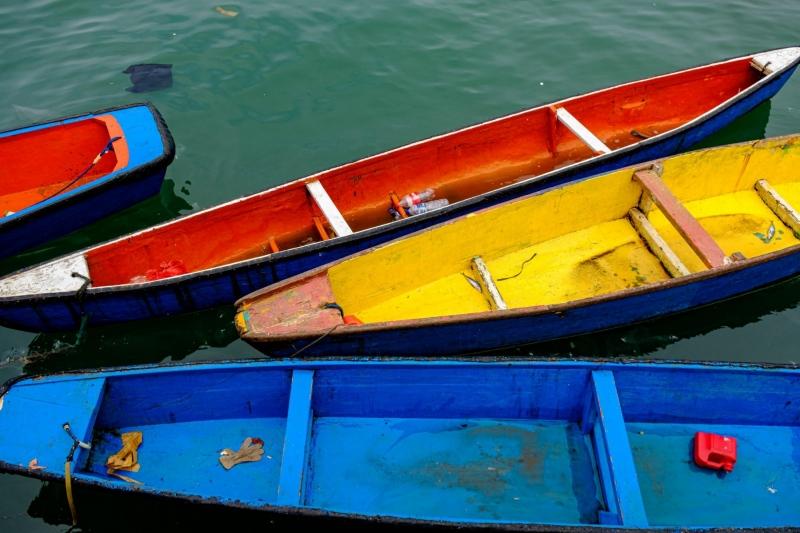 Colourful boats, moored near Jayapura, Papua, Indonesia.