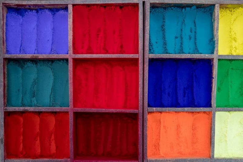 Paint powders for religous purposes, in Kathmandu, Nepal.