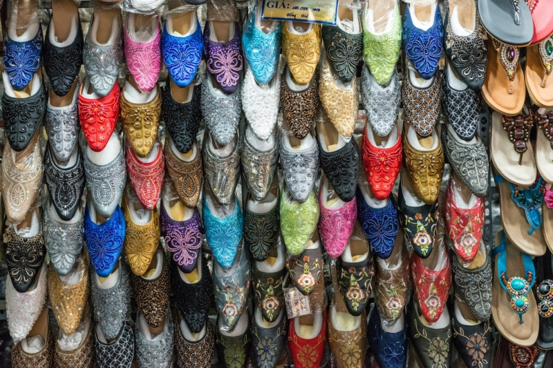 Fancy slippers for sale, in a market in Ho Chi Minh City, Vietnam.