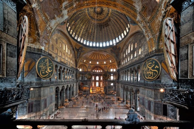 Interior, Hagia Sophia Museum, Istanbul, Tukey.