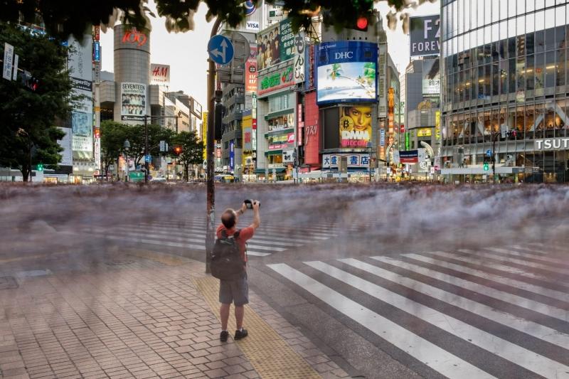 Standing still at the Shibuya Scramble crossing, in Tokyo, Japan.
