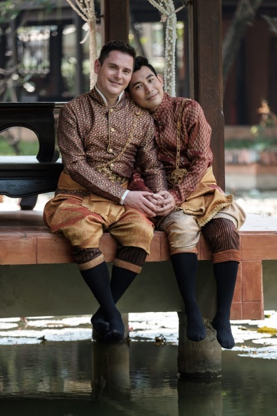Newlyweds, Dennis and Anthony, on their wedding day in Thailand.