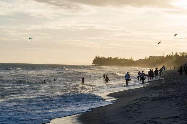 A photo of the beach in Mui Ne, Vietnam, at sunset.