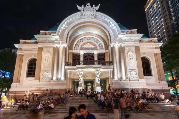 A photo of the beautiful opera house in Saigon, Vietnam.