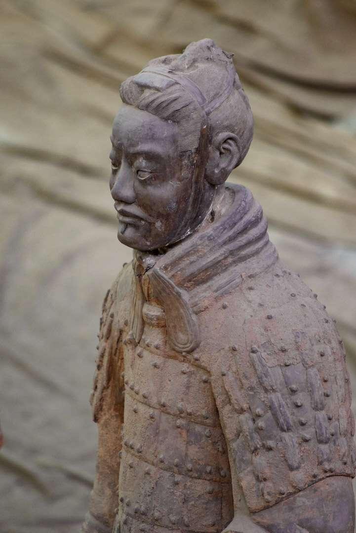 A closeup shot of a Terracotta Warrior.